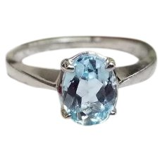 Modern estate 14K white gold oval 1.25 carat aquamarine solitaire ring, size 7-1/2