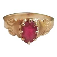 Antique Victorian 10k rose gold garnet and glass doublet solitaire ring, size 6-1/2, circa late 1800s