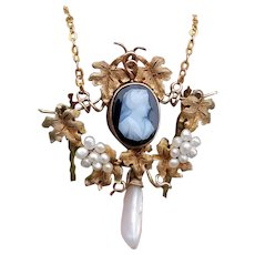 Antique Victorian 14k rose gold black and white sardonyx hardstone cameo seed pearl grape leaf pendant necklace, lavalier