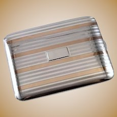 3.6 ounce Vintage Art Deco signed Napier sterling silver 14K rose gold cigarette case, tobacciana, smoking, business card case