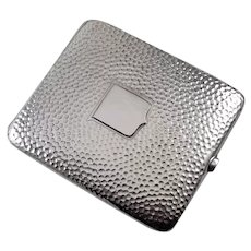 3.5 ounce Vintage Art Deco signed Webster sterling silver hand hammered cigarette case, tobacciana, smoking