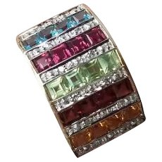 Modern estate 10K gold wide rainbow gemstone garnet, rhodolite, blue topaz, peridot, citrine, diamond cocktail statement band ring, size 7