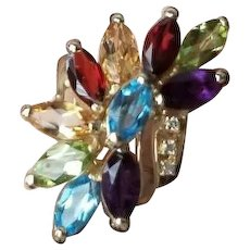 Modern estate 14K gold rainbow gemstone garnet, amethyst, blue topaz, peridot, citrine, diamond cocktail statement band ring, size 6