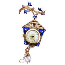 Vintage mid century 18k gold Italian signed Toliro cobalt blue enamel ruby and pearl cuckoo clock brooch lapel pin watch, Italy, 750, bird