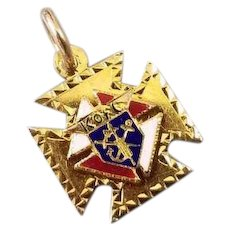 Antique 10k gold enamel Edwardian Knights of Columbus watch fob K of C, secret society, Maltese Cross, fraternal, charm, pendant