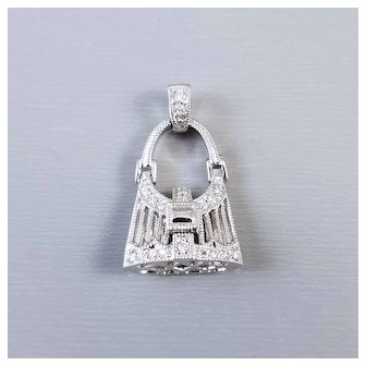 Modern estate 14k white gold movable 19 diamond handbag purse charm, pendant, necklace, buckle clasp opens and closes
