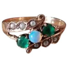 Antique Victorian 10k rose gold opal, seedpearl, garnet and glass emerald doublet ring, size 7, circa late 1800s