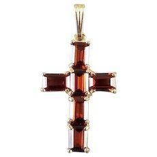 Modern contemporary 14k gold 3.60 carat garnet cross pendant charm for necklace no chain