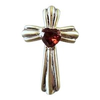 Modern contemporary 14k two tone yellow and white gold heart shaped garnet cross pendant charm for necklace no chain