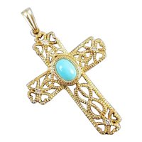 Modern contemporary 14k gold blue turquoise cabochon and diamond Celtic filigree cross pendant charm for necklace no chain