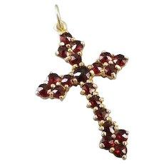 Modern contemporary 14k gold 2.65 carat rose cut garnet cross pendant charm for necklace no chain