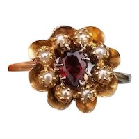 Antique Edwardian 14k gold pear shaped garnet and seed pearl halo ring, cconversion ring, stick pin ring, stickpin ring, size 7