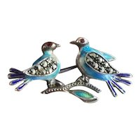 Vintage sterling silver enamel marcasite and garnet love birds brooch pin