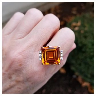Vintage Art Deco Retro Moderne 10k square 12.62 ct padparadscha orange sapphire and six diamond bypass statement ring, size 8, cocktail ring
