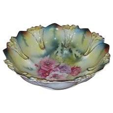 Antique Edwardian hand painted signed R.S. Prussia porcelain large bowl peony flowers, RS Prussia