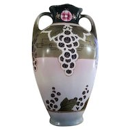Large antique Royal Nippon Nishiki Japan hand painted porcelain ceramic vase urn eared handles Art and Crafts grape leaf