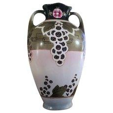 Large antique Royal Nippon Nishiki Japan hand painted porcelain ceramic vase urn eared handles Art and Crafts grape leaf