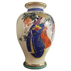 Large vintage hand painted Geisha and floral Japanese Satsuma urn vase ceramic, pottery, Asian, Oriental, Japan, Moriage