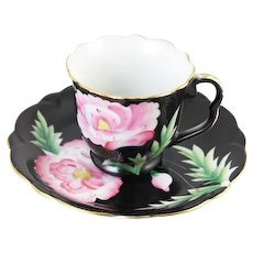 Vintage hand decorated Shafford Japan demitasse cup & saucer, black, pink, porcelain, china, bone china, tea, coffee, tea party, high tea