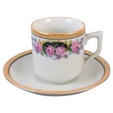 Vintage hand painted Japan demitasse lusterware cup and saucer, porcelain, china, bone china, tea, coffee