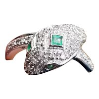 Modern estate 14k white gold pave diamond and green emerald snake ring, size 7, statement ring, cocktail ring