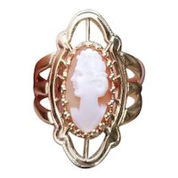 Vintage mid century extra wide hand carved shell cameo navette statement ring, cigar band, signed A&Z Hayward, size 6-1/4