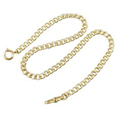 13-1/4 inch vintage mid century brand new old stock unused mint 1950s gold filled pocket watch chain, NOS