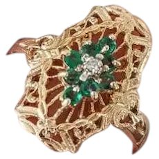 Vintage estate 14k gold filigree green emerald and diamond statement ring, size 6-3/4