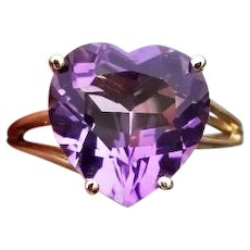 Modern estate 14k gold heart shaped purple amethyst solitaire ring, statement ring, cocktail ring, size 7-3/4