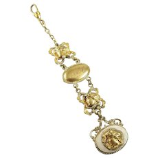 Antique Edwardian Art Nouveau lady head gold filled pocket watch fob, AP initials with swivel clip, signed Riley, French & Heffron