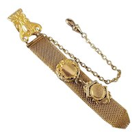 Antique Edwardian mesh link gold filled pocket watch fob, signed Finberg Mfg Co, two engraveable shield charms