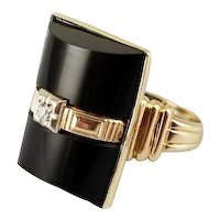 Vintage Art Deco 10k gold barrel shaped black onyx and diamond statement buckle ring, signed Goodman & Co., size 4, pinky ring, pinkie ring