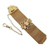 Antique Edwardian gold filled wide mesh pocket watch crest fob, EH initials, signed S.O. Bigney, SOB