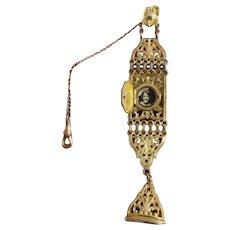 Vintage Art Deco gold filled ornate pocket watch seal fob with hidden locket signed Marathon Lestage