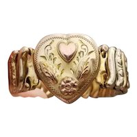 Vintage gold filled Victoria by RR Fogel stretch expansion sweetheart bracelet, multi color heart flower leaves, high relief