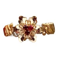 Vintage rose gold filled Barclay stretch expansion sweetheart bracelet, floral ruby red crystal paste flower center