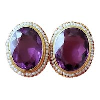 Vintage 14k gold 17 carat tw amethyst and seed pearl halo pierced button earrings