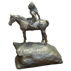 Vintage 1976 Austin Products Native American Indian on horse back sculpture figural figurine statue