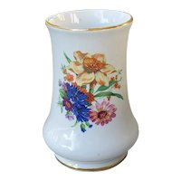 Vintage two sided Burleigh Ware pottery Burgess and Leigh Burslem England 6362 white floral earthenware ceramic bud vase