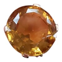 Vintage Retro Moderne mid century 14k rose gold MASSIVE 38.50 carat citrine statement ring, size 5-3/4