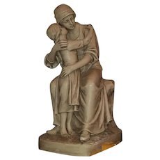 Antique Bohemian Victorian Royal Dux large 16.5 inch tall porcelain figurine statue, mother and child, #2601, Eichler, 1860 - pre WW1 E mark