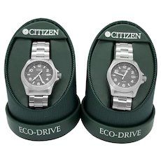 2 Citizen Eco-Drive stainless steel quartz battery wrist watches, 1999, original paperwork, tags, boxes, 1 runs perfectly, 1 needs battery