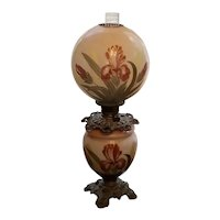 Vintage Gone With The Wind glass globes hand painted iris flower electric lamp, parlour, parlor, hurricane, chamber NOT FREE SHIPPING