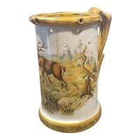 Vintage German beer stein tankard mug, deer scene, hunting, puzzle mug, lithophane, risque nude, Octoberfest