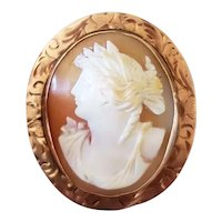 Antique Edwardian 10k rose gold cameo pin brooch pendant signed Charles Keller & Co
