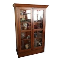 Antique Edwardian mission oak china cabinet, china hutch, curio cabinet, cupboard, display case, NOT FREE SHIPPING