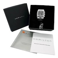 Hamilton Chronograph Automatic Mount Vernon stainless steel wrist watch, original paperwork, box, 25 jewel, 44mm x 38mm
