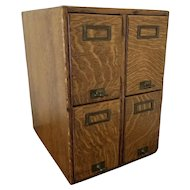 NE OHIO PICKUP Vintage antique solid oak wood library office file card index box four drawer cabinet signed Fred Macey Company