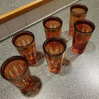 Antique Victorian Bohemian Moser cut glass crystal amber amberina drinking glasses, tumblers, gold leaf
