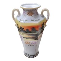 Large antique Royal Nippon Nishiki Japan hand painted porcelain ceramic vase urn eared handles sunset and roses
